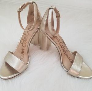 Sam Edelman Gold Leather Heels